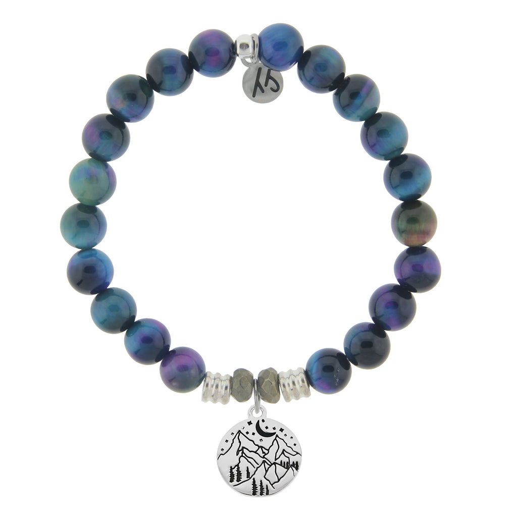 Indigo Tiger's Eye Stone Bracelet with Mountain Sterling Silver Charm