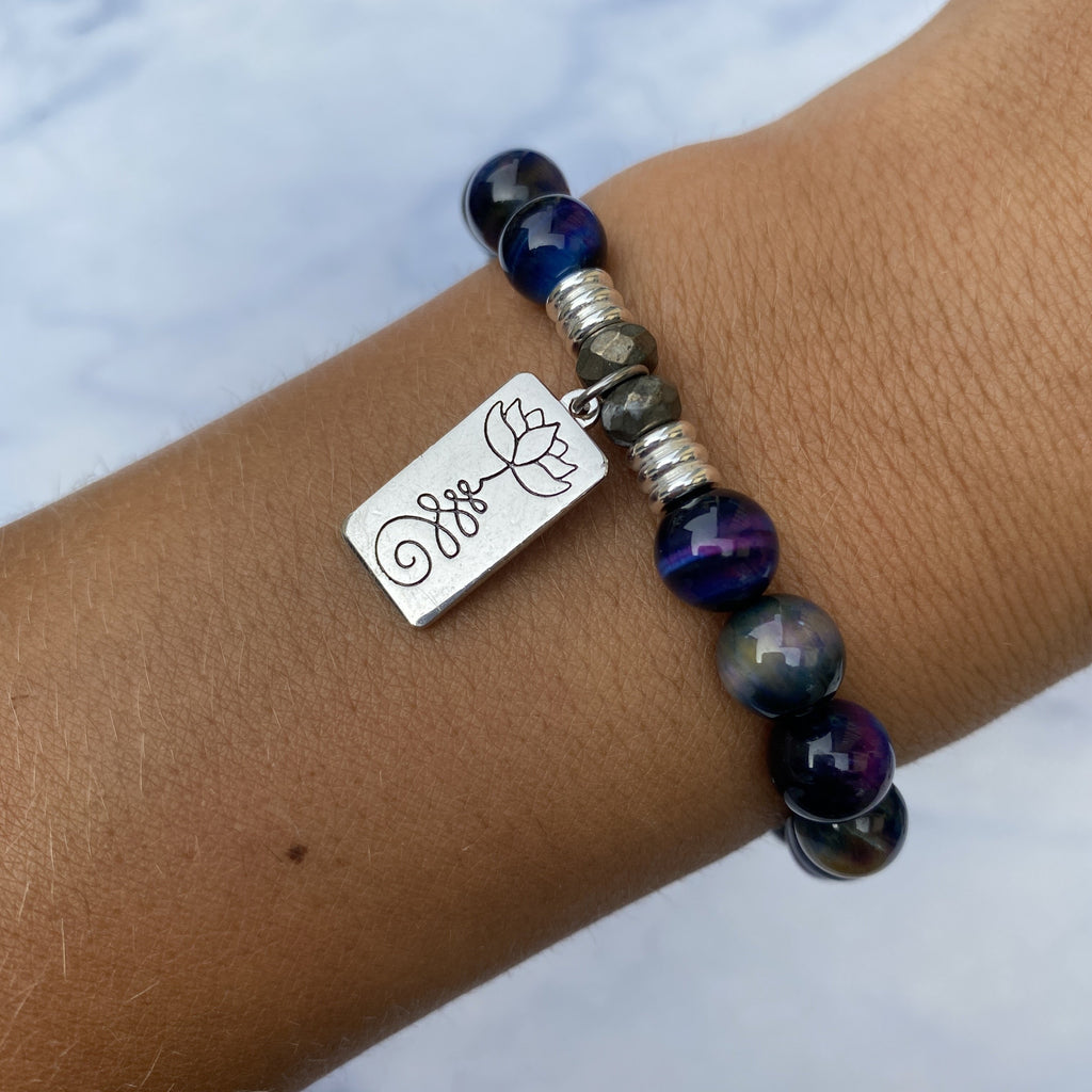 Indigo Tiger's Eye Stone Bracelet with New Beginnings Sterling Silver Charm