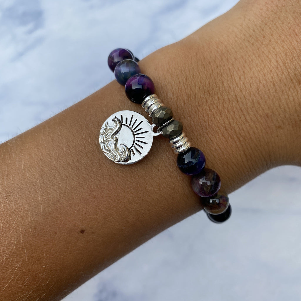 Indigo Tiger's Eye Stone Bracelet with New Day Sterling Silver Charm