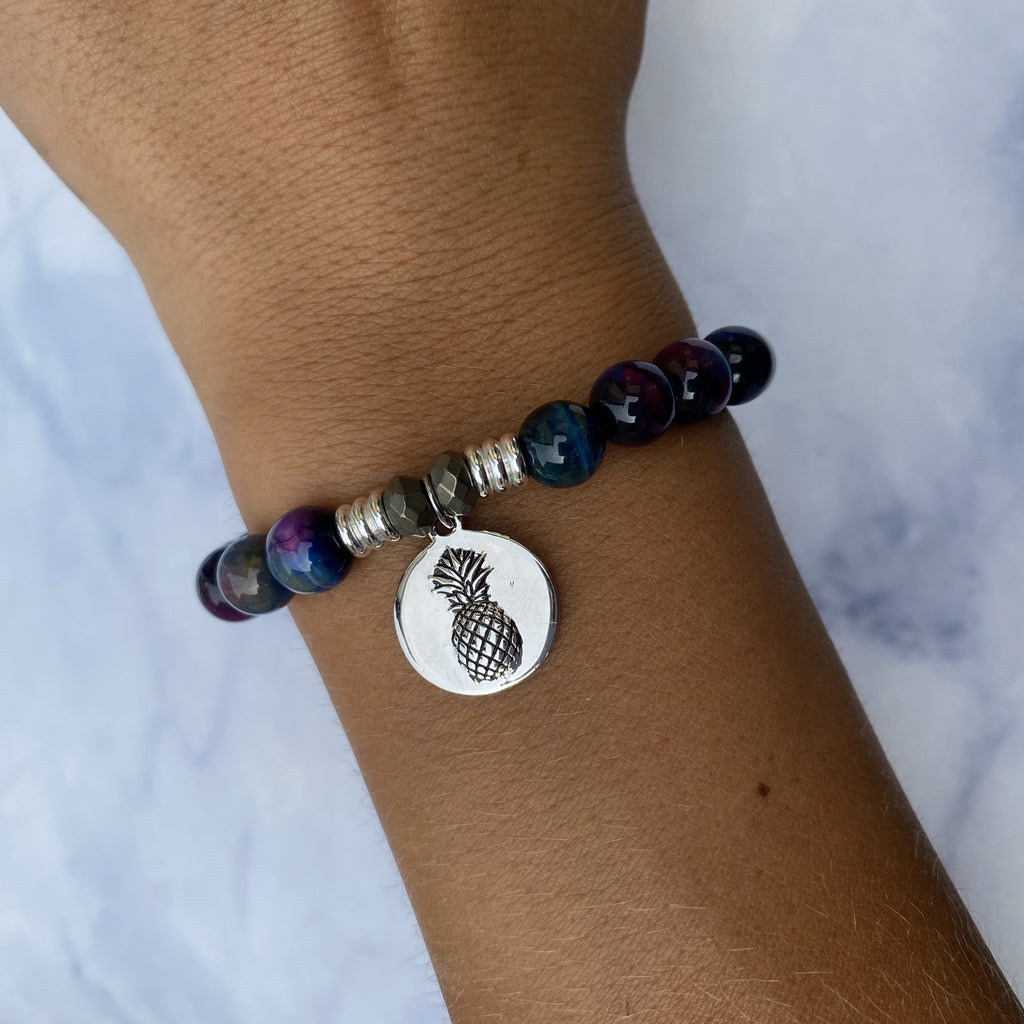 Indigo Tiger's Eye Stone Bracelet with Pineapple Sterling Silver Charm