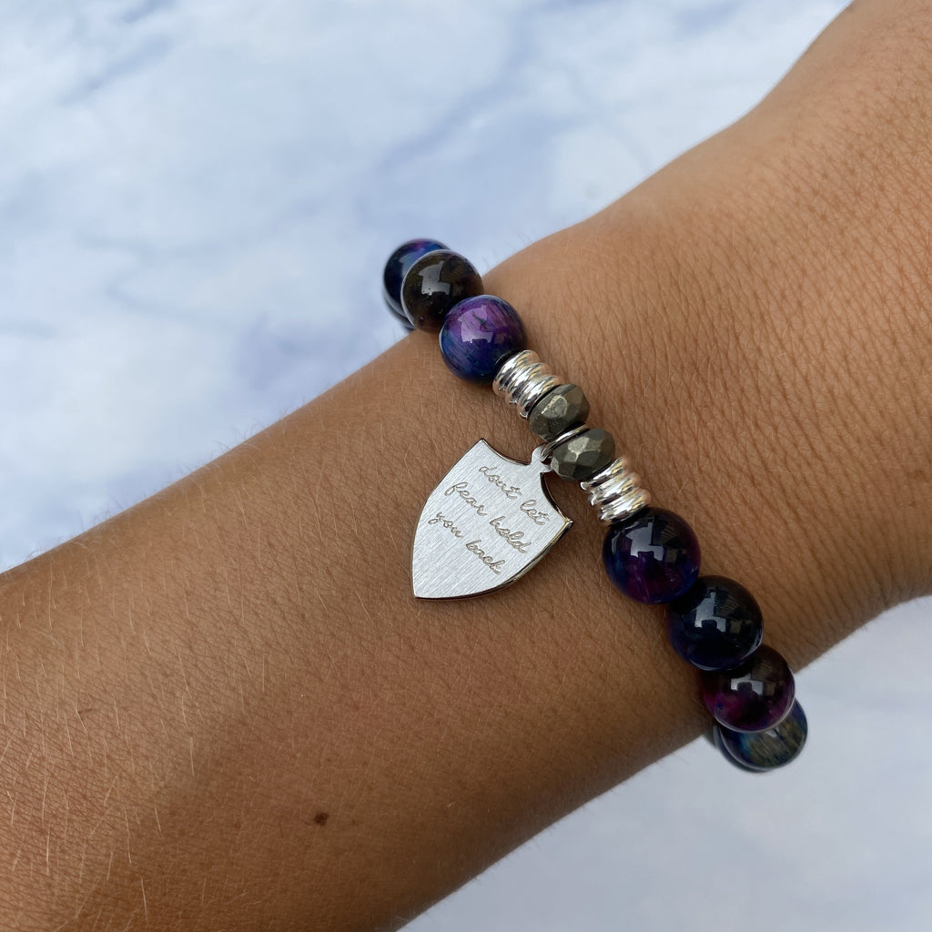 Indigo Tiger's Eye Stone Bracelet with Shield of Strength Sterling Silver Charm
