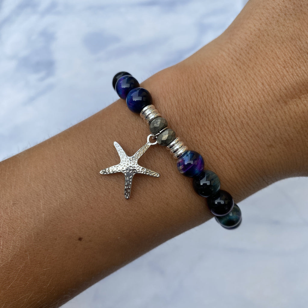 Indigo Tiger's Eye Stone Bracelet with Starfish Sterling Silver Charm