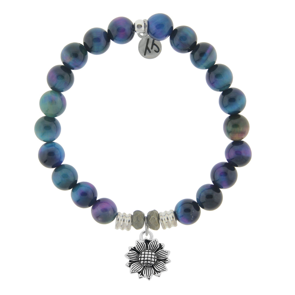 Indigo Tiger's Eye Stone Bracelet with Sunflower Sterling Silver Charm