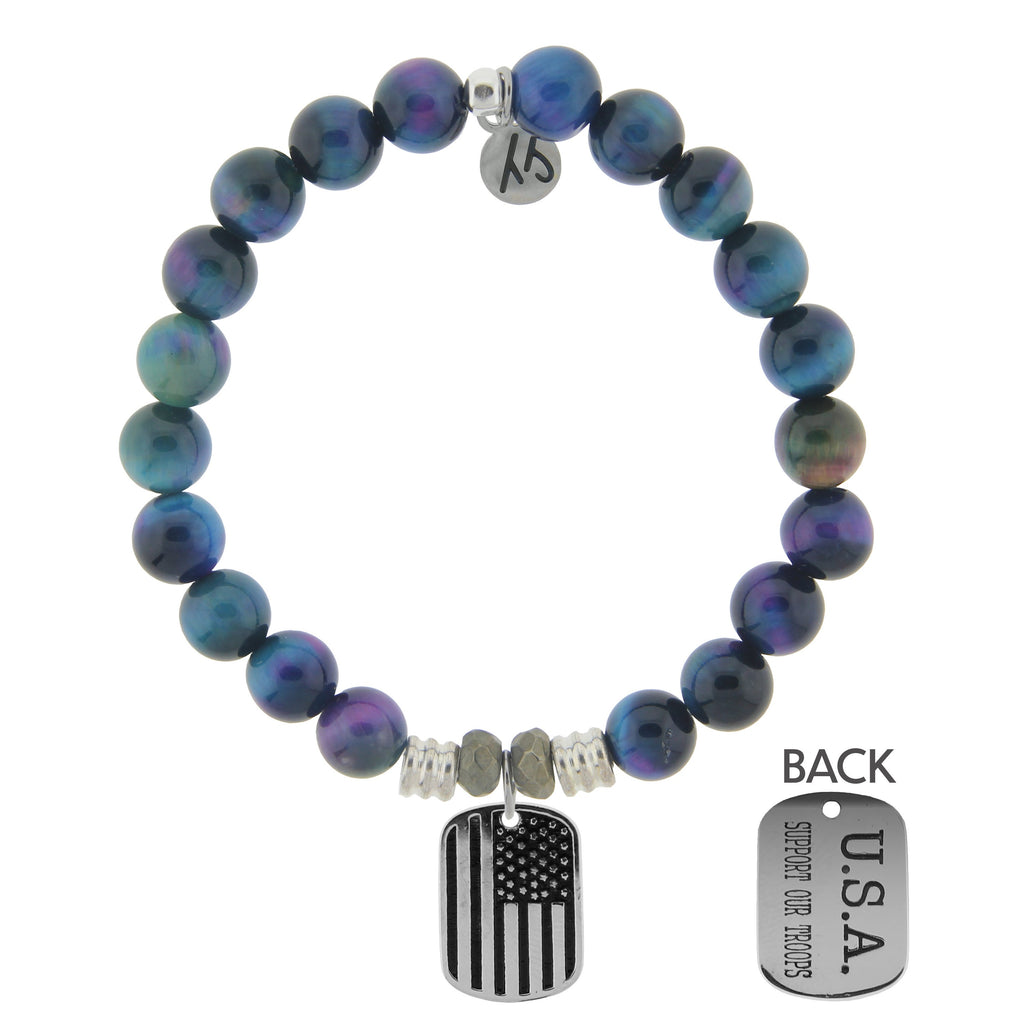 Indigo Tiger's Eye Stone Bracelet with Support Our Troops Sterling Silver Charm