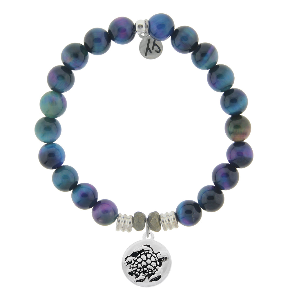 Indigo Tiger's Eye Stone Bracelet with Turtle Sterling Silver Charm