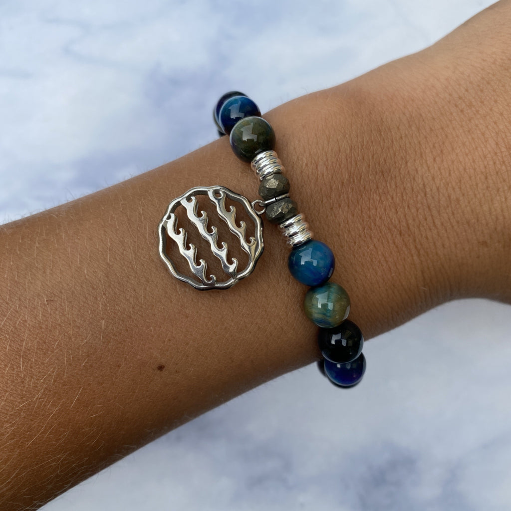 Indigo Tiger's Eye Stone Bracelet with Waves of Life Sterling Silver Charm