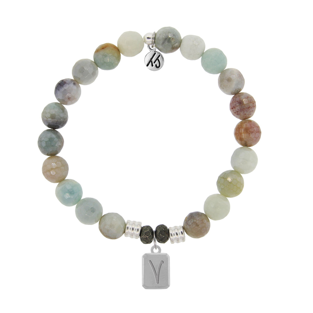 Initially Your's Amazonite Stone Bracelet with Letter V Sterling Silver Charm
