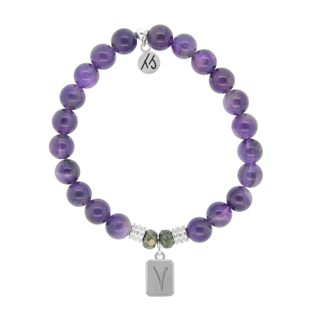 Initially Your's Amethyst Stone Bracelet with Letter V Sterling Silver Charm