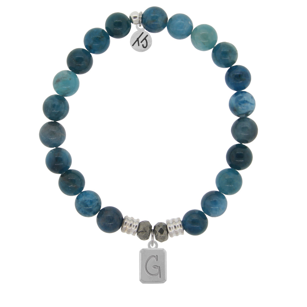 Initially Your's Arctic Apatite Stone Bracelet with Letter G Sterling Silver Charm