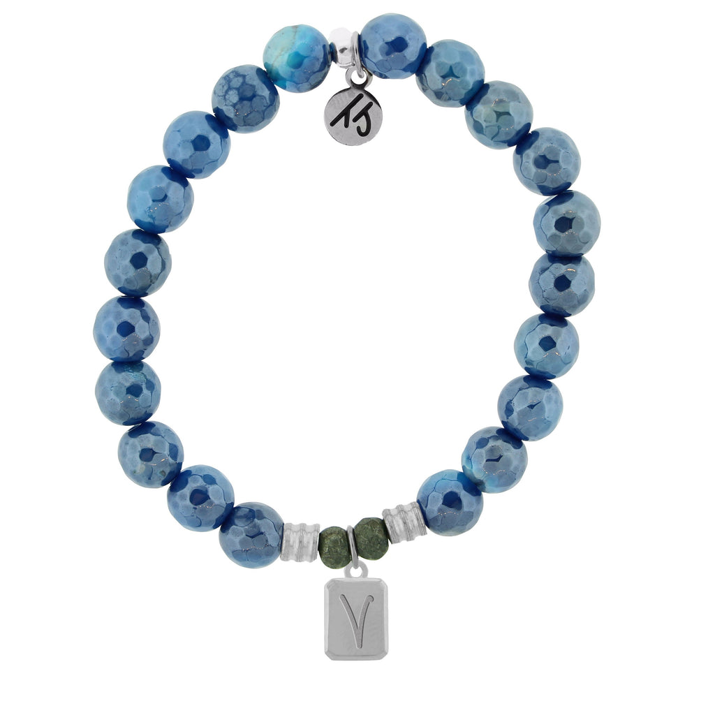 Initially Your's Blue Agate Stone Bracelet with Letter V Sterling Silver Charm