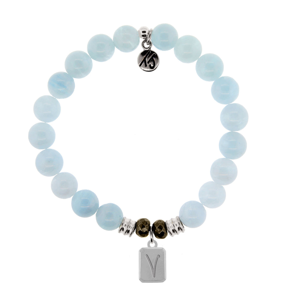 Initially Your's Blue Aquamarine Stone Bracelet with Letter V Sterling Silver Charm