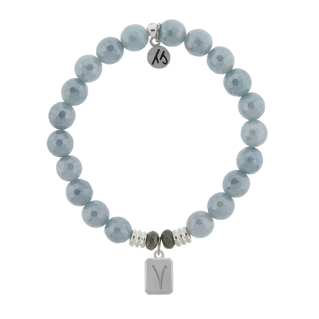 Initially Your's Blue Quartzite Stone Bracelet with Letter V Sterling Silver Charm