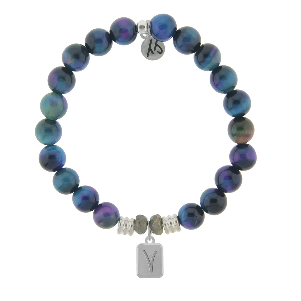 Initially Your's Indigo Tiger's Eye Stone Bracelet with Letter V Sterling Silver Charm