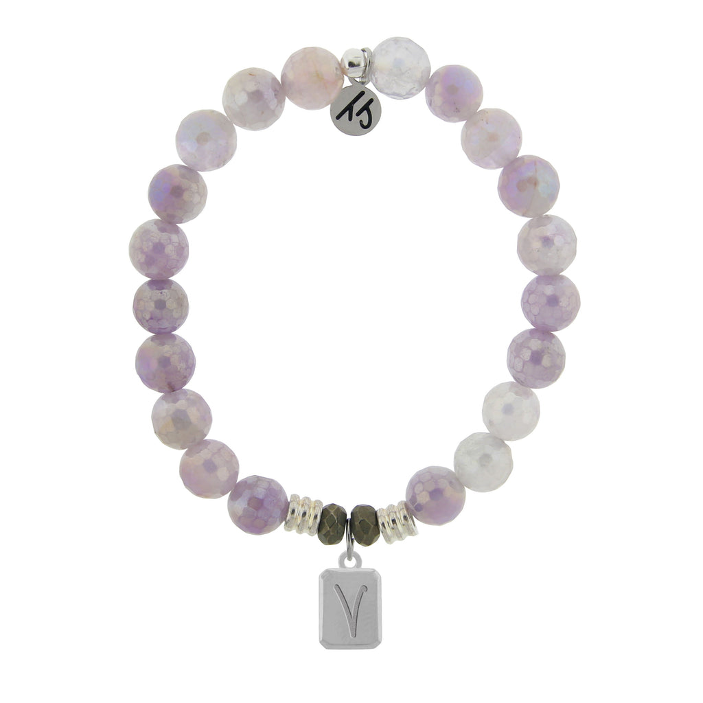 Initially Your's Mauve Jade Stone Bracelet with Letter V Sterling Silver Charm