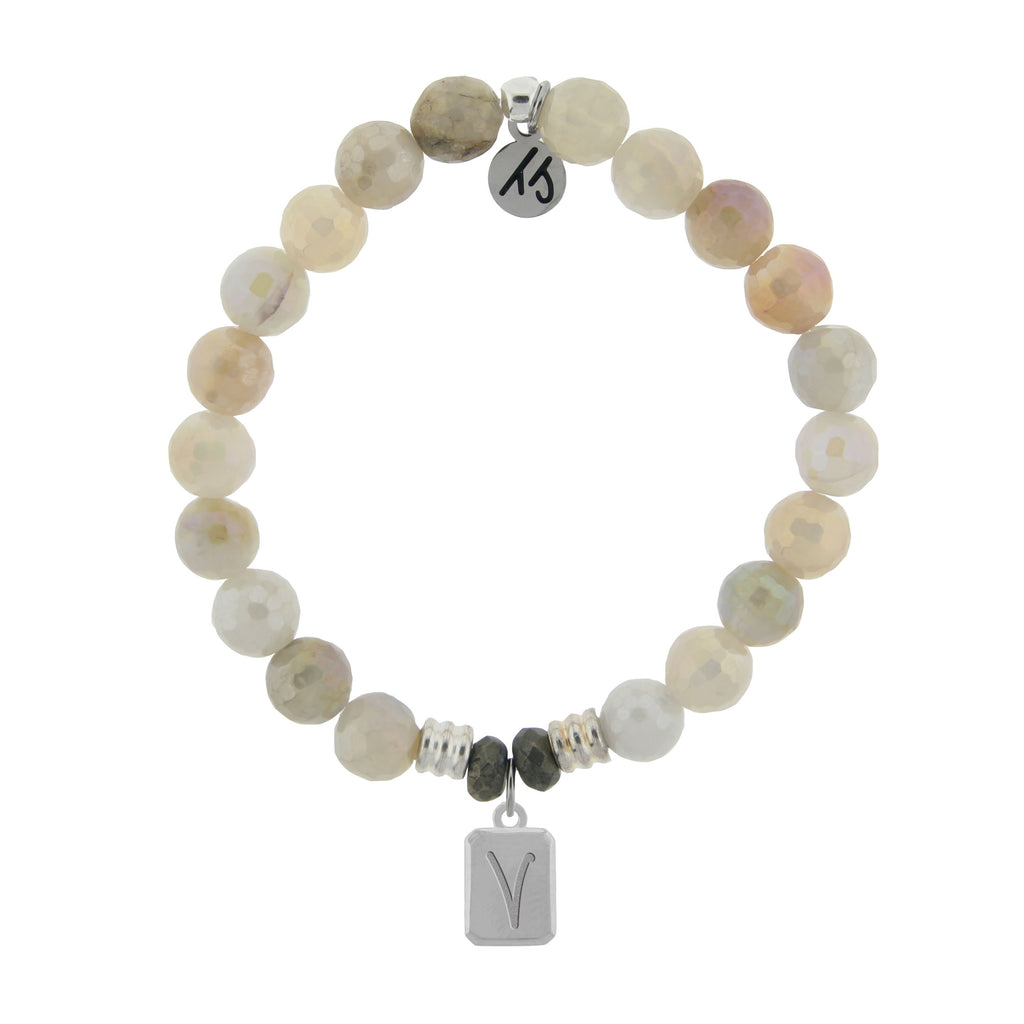 Initially Your's Moonstone Bracelet with Letter V Sterling Silver Charm