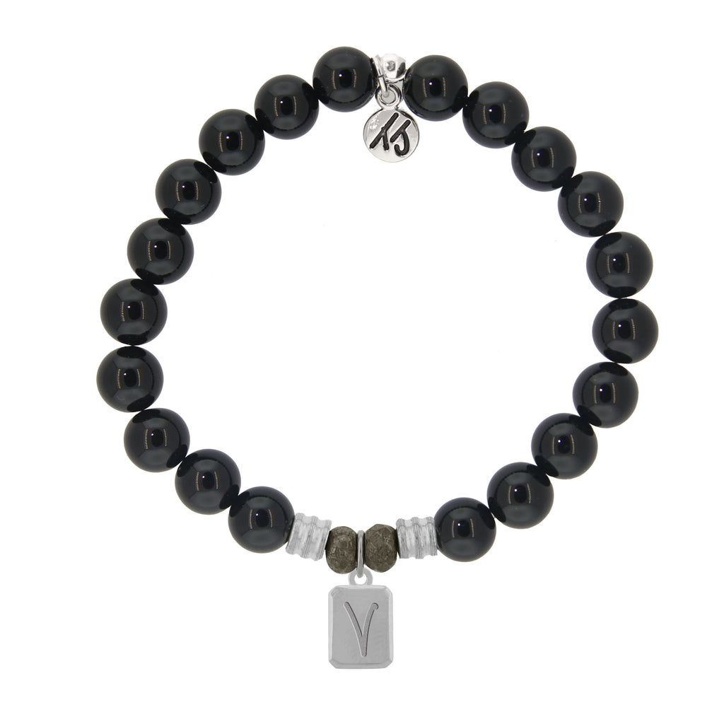 Initially Your's Onyx Bracelet with Letter V Sterling Silver Charm