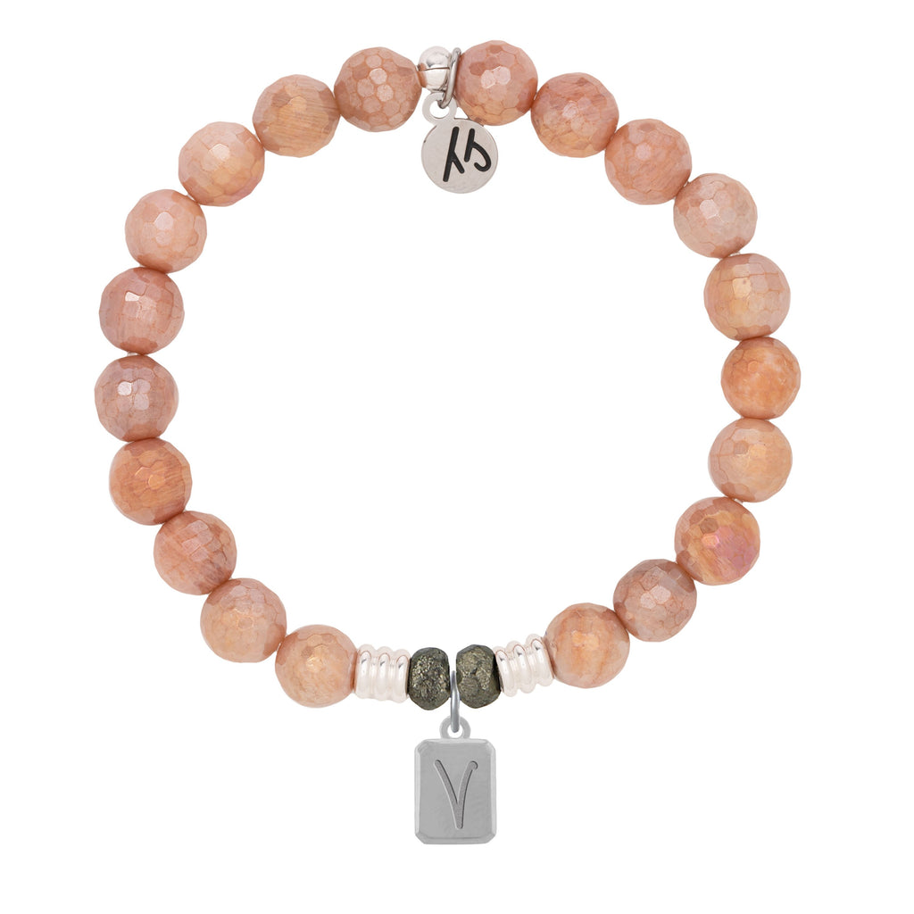 Initially Your's Orange Moonstone Bracelet with Letter V Sterling Silver Charm