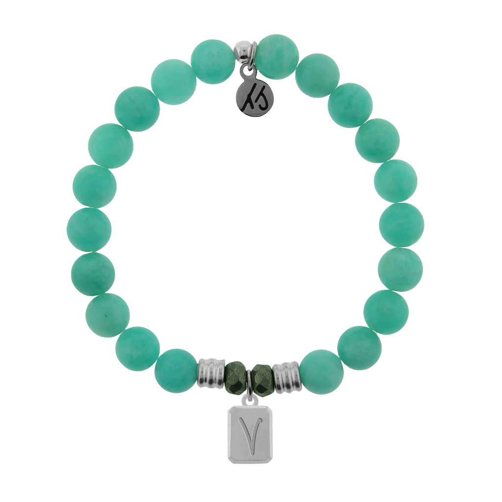 Initially Your's Peruvian Amazonite Stone Bracelet with Letter V Sterling Silver Charm