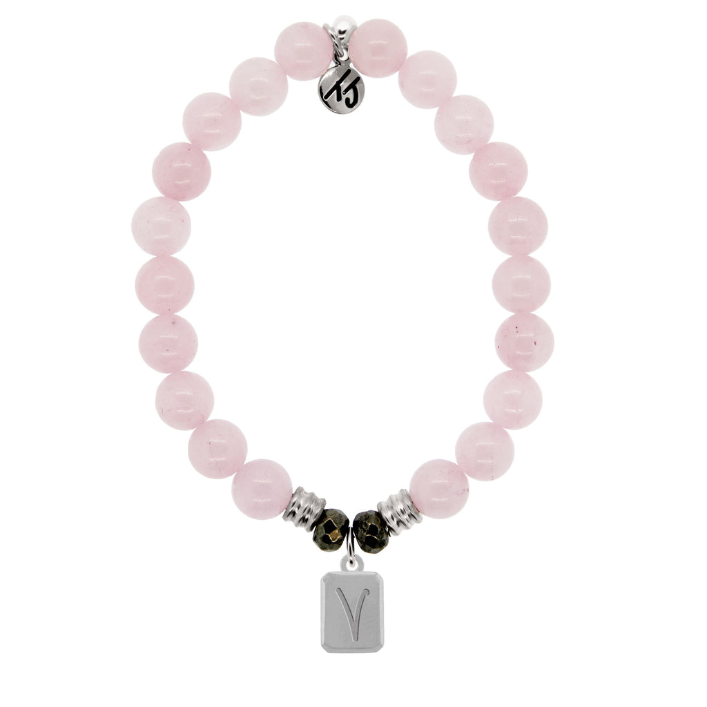 Initially Your's Rose Quartz Bracelet with Letter V Sterling Silver Charm