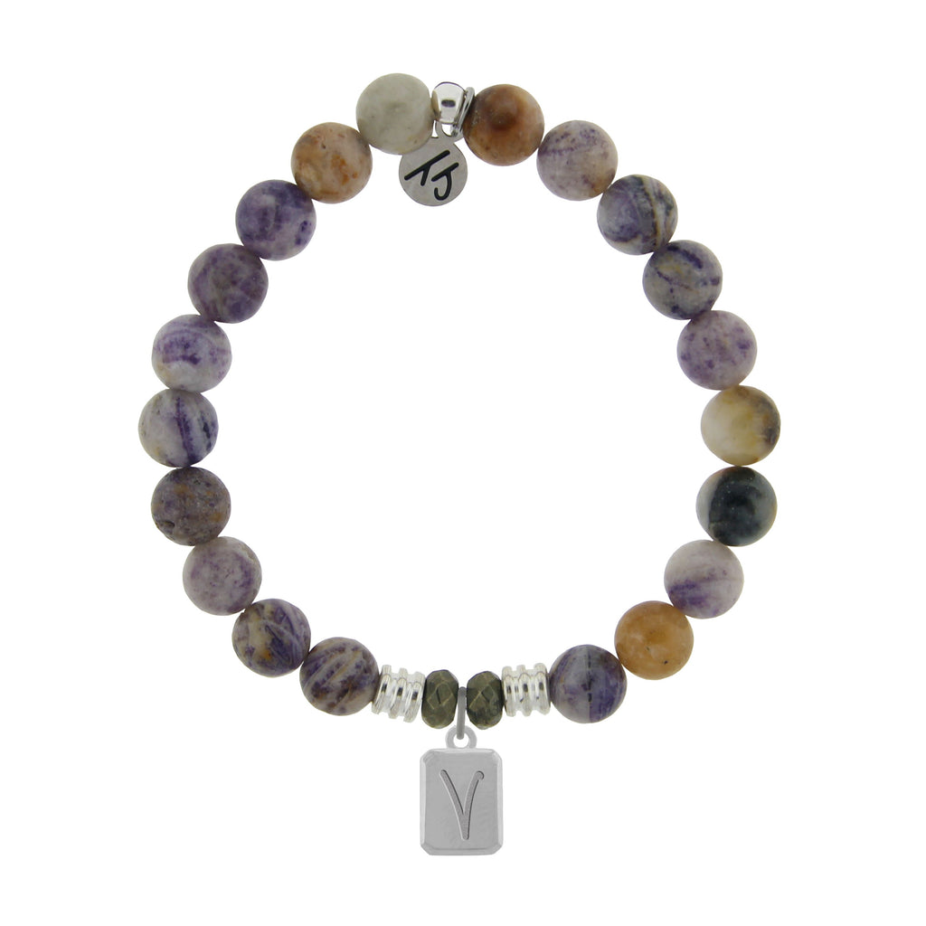 Initially Your's Sage Amethyst Agate Bracelet with Letter V Sterling Silver Charm