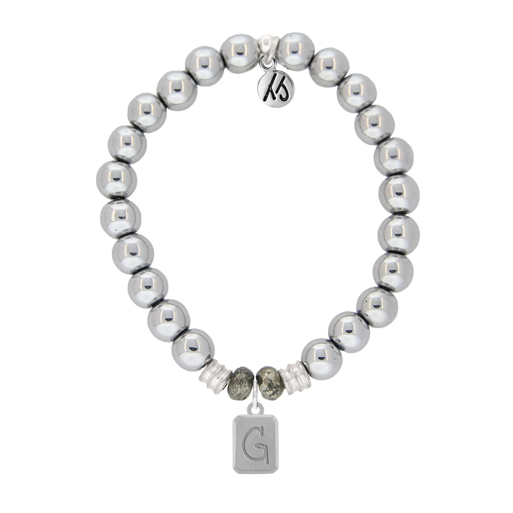 Initially Your's Silver Steel Bracelet with Letter G Sterling Silver Charm