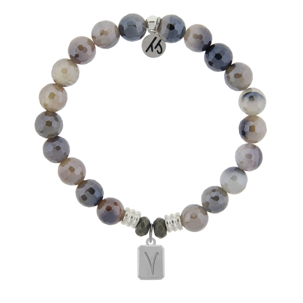 Initially Your's Storm Bracelet with Letter V Sterling Silver Charm