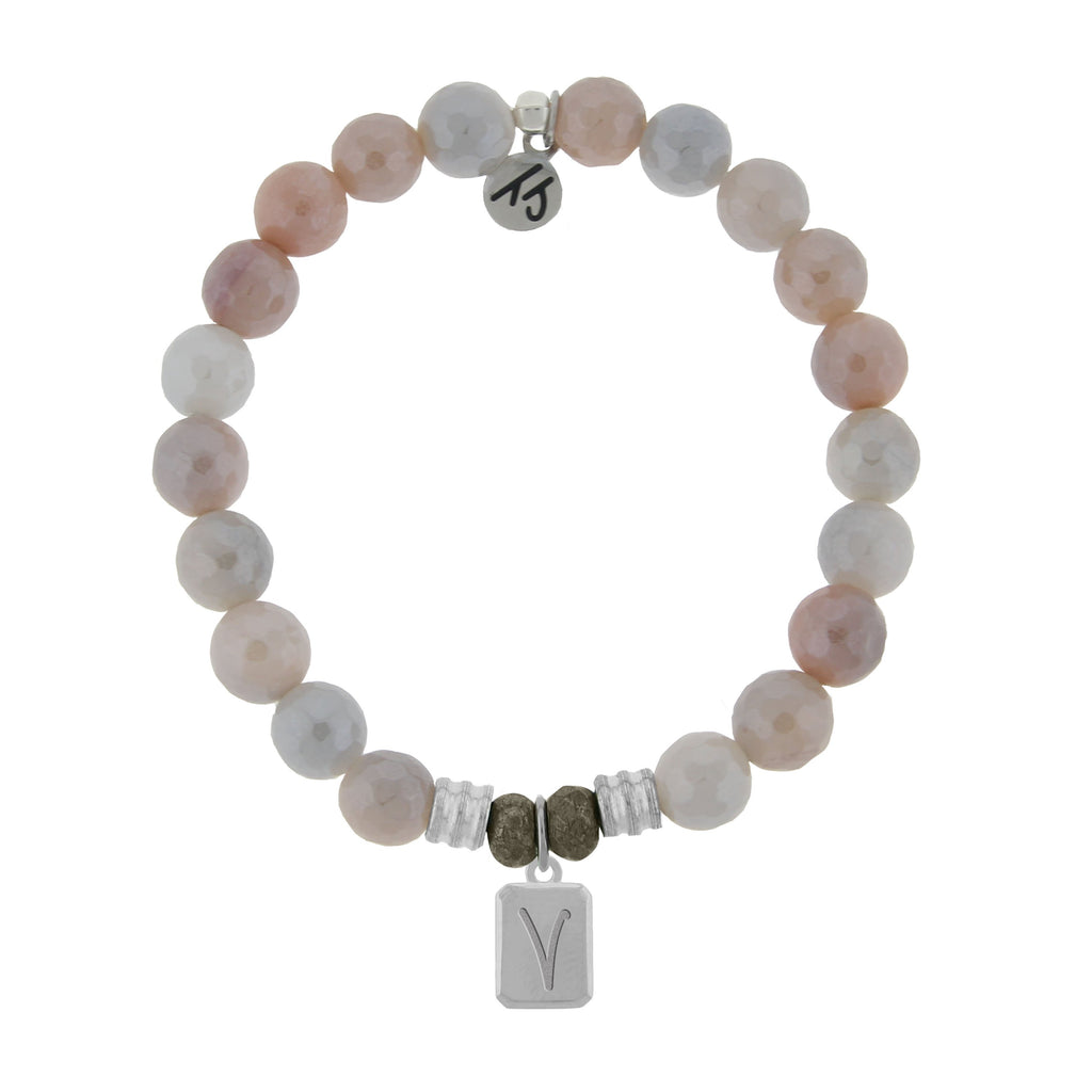 Initially Your's Sunstone Bracelet with Letter V Sterling Silver Charm