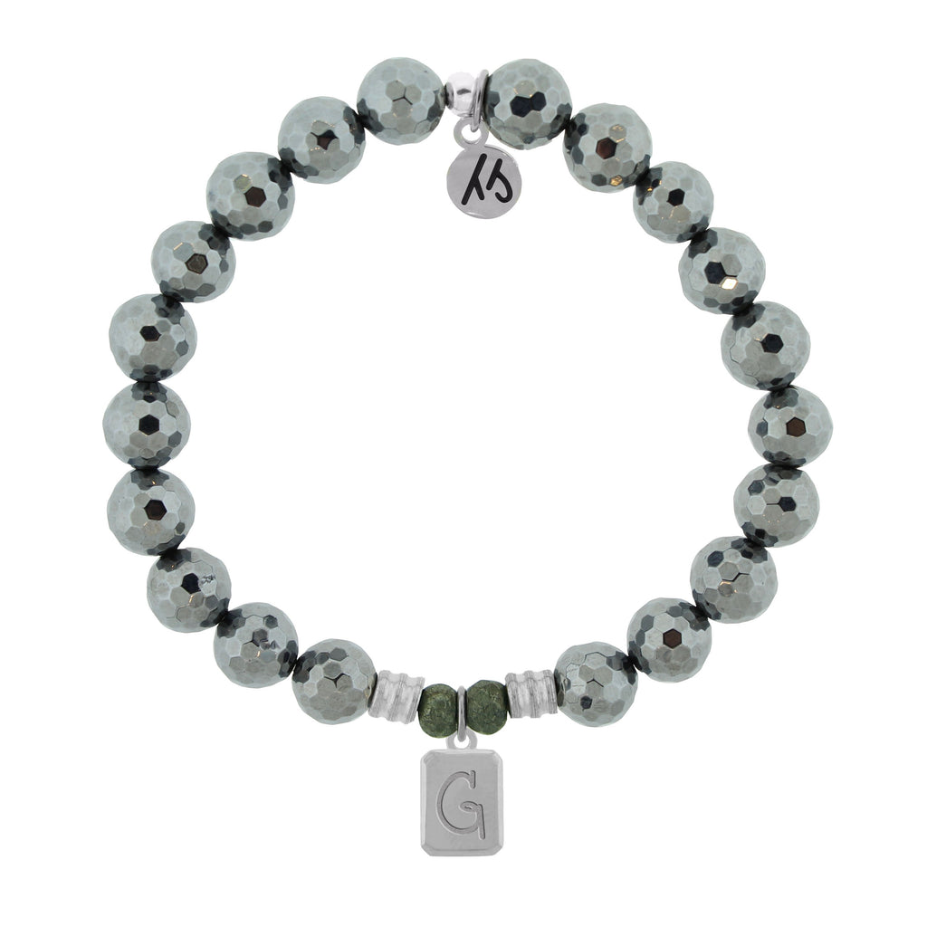 Initially Your's Terahertz Bracelet with Letter G Sterling Silver Charm