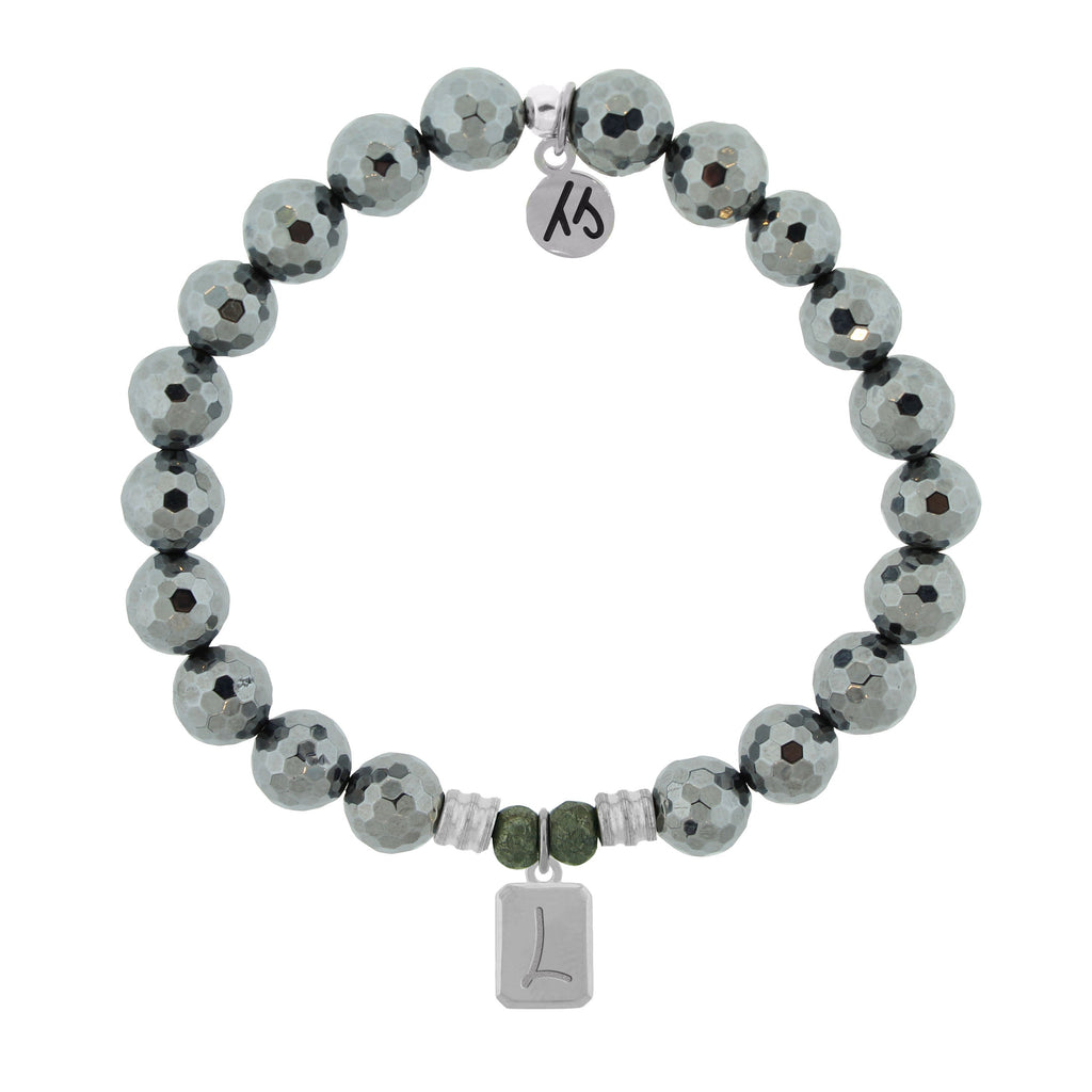 Initially Your's Terahertz Bracelet with Letter L Sterling Silver Charm