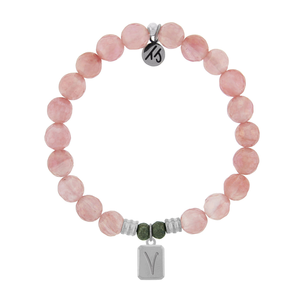 Initially Your's Watermelon Quartz Bracelet with Letter V Sterling Silver Charm