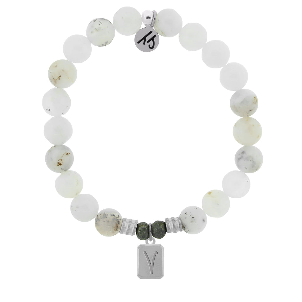 Initially Your's White Chalcedony Bracelet with Letter V Sterling Silver Charm