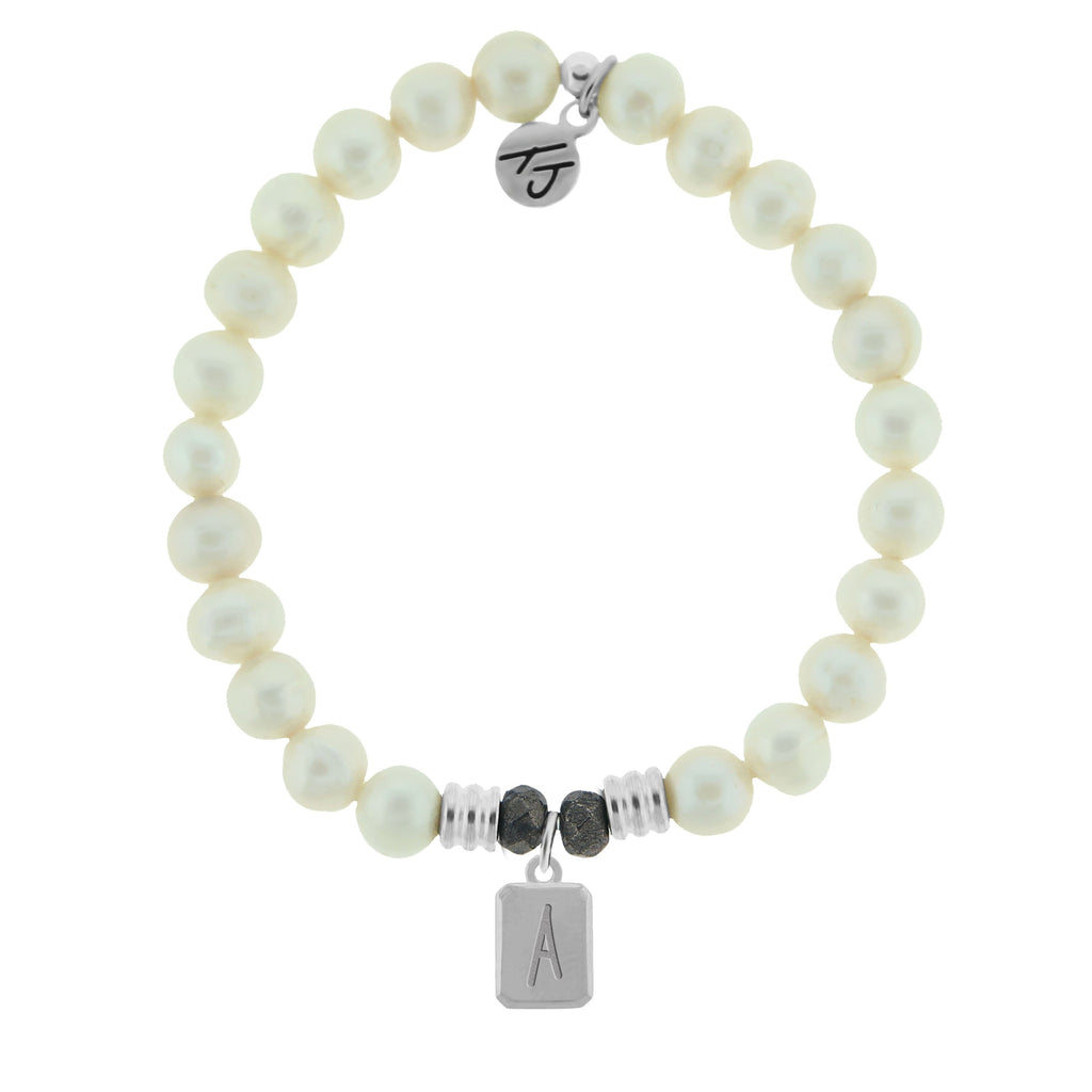 Initially Your's White Pearl Bracelet with Letter A Sterling Silver Charm