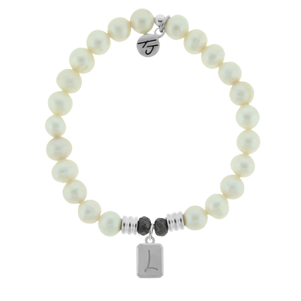 Initially Your's White Pearl Bracelet with Letter L Sterling Silver Charm