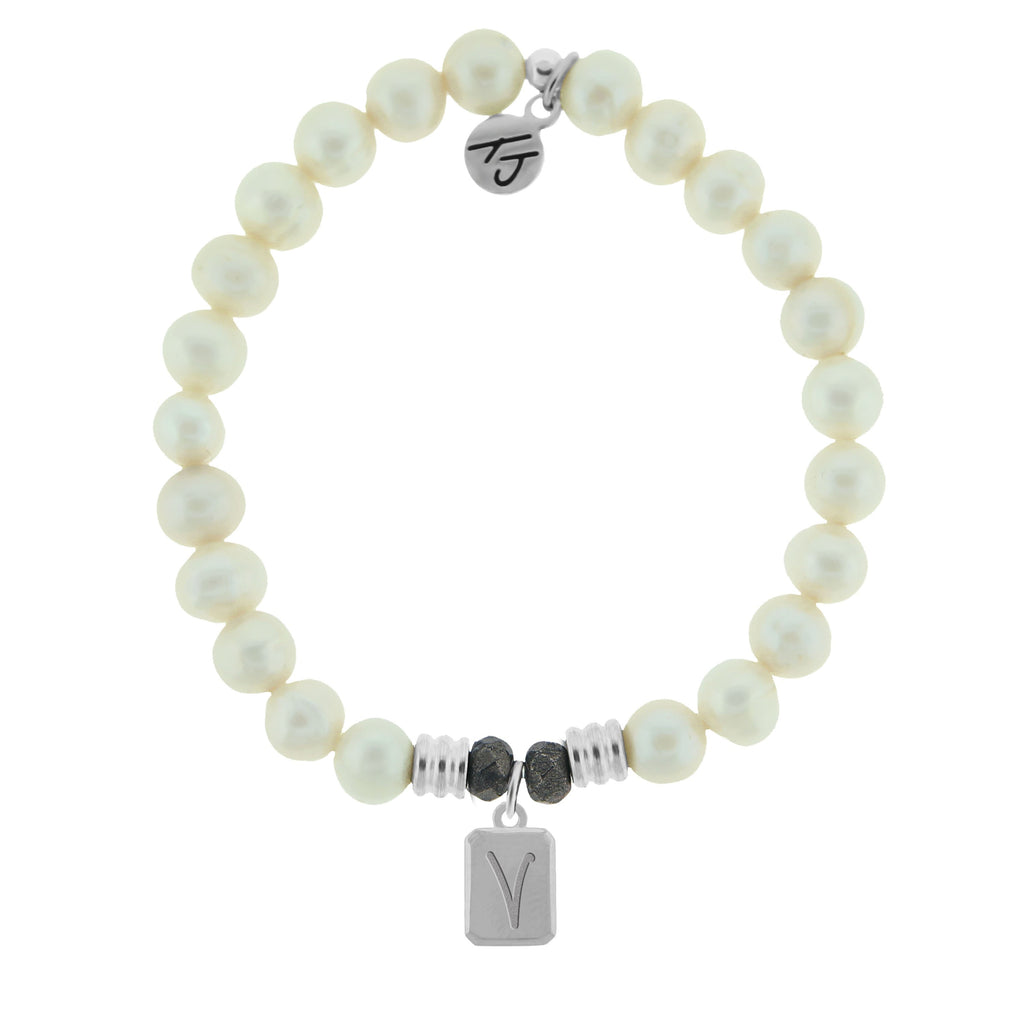 Initially Your's White Pearl Bracelet with Letter V Sterling Silver Charm