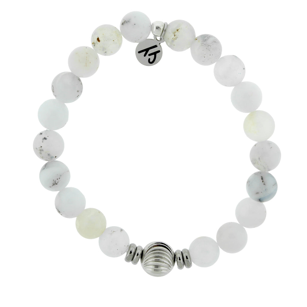 Journey Wave Bracelet with White Chalcedony and Silver Wave Ball