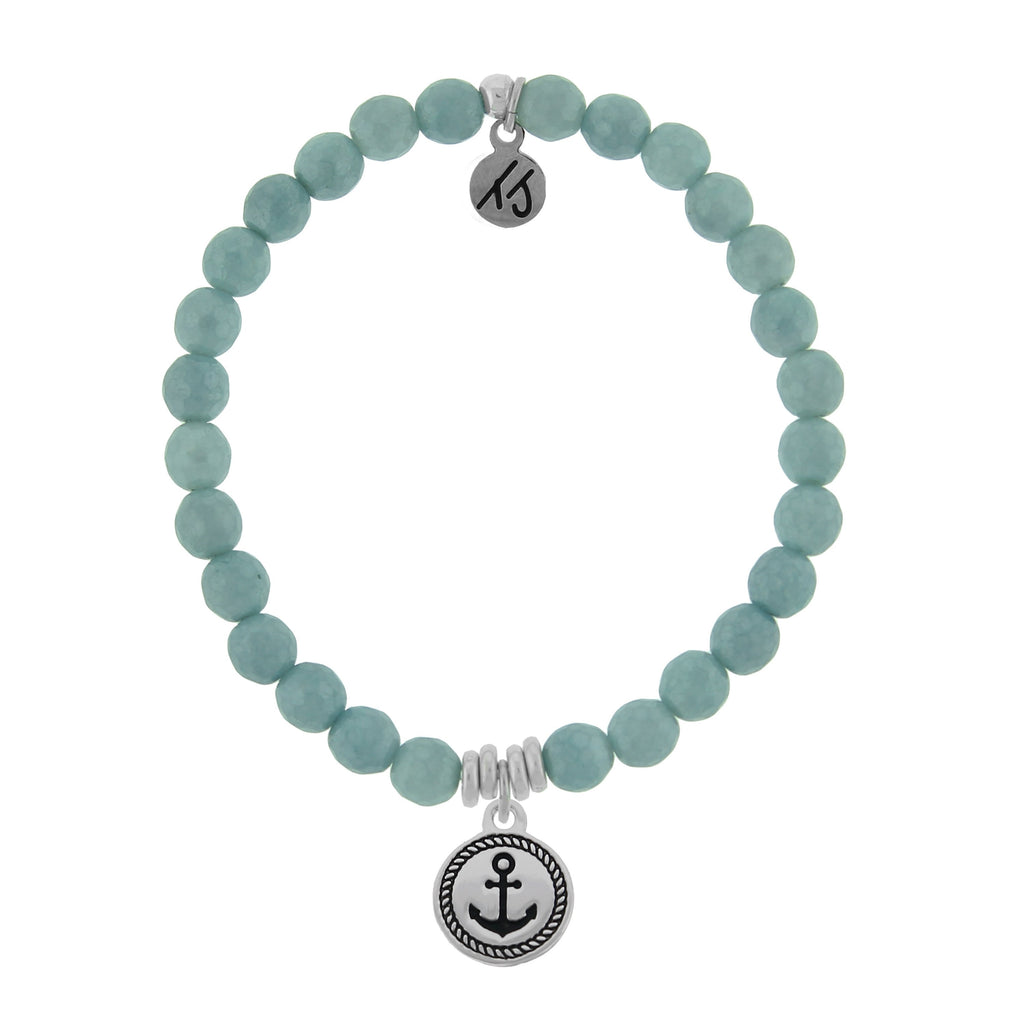 La Bella Vita-Blue Quartzite Stone Bracelet with Anchor Sterling Silver Charm