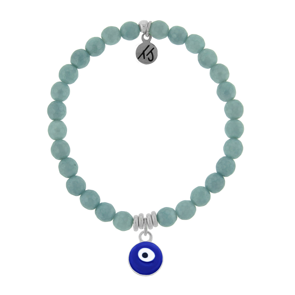 La Bella Vita-Blue Quartzite Stone Bracelet with Evil Eye Sterling Silver Charm