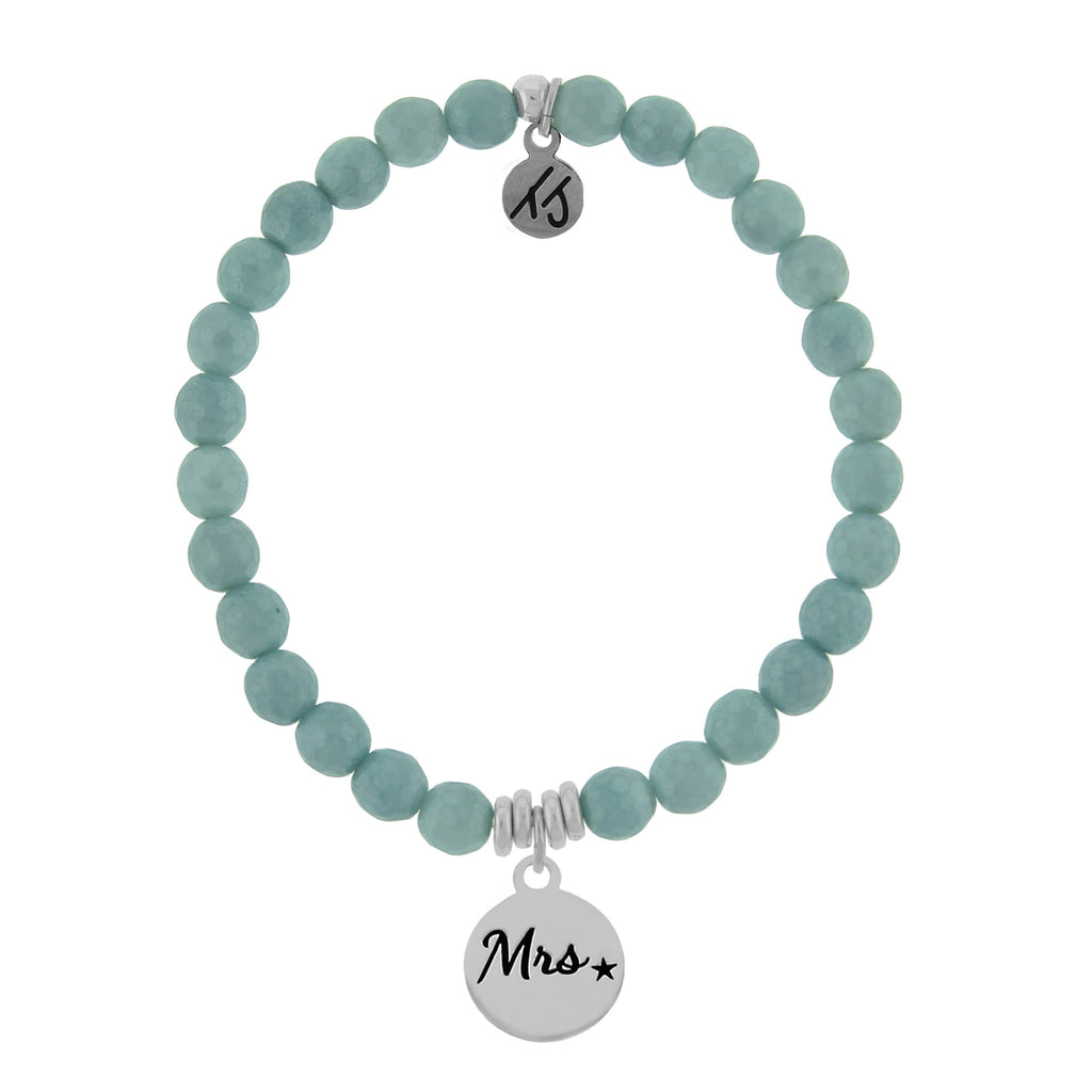 La Bella Vita-Blue Quartzite Stone Bracelet with Mrs. Sterling Silver Charm
