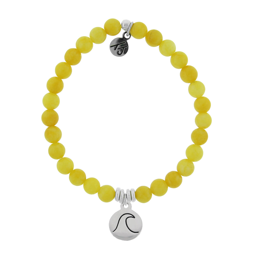 La Bella Vita-Yellow Jade Stone Bracelet with Wave Sterling Silver Charm