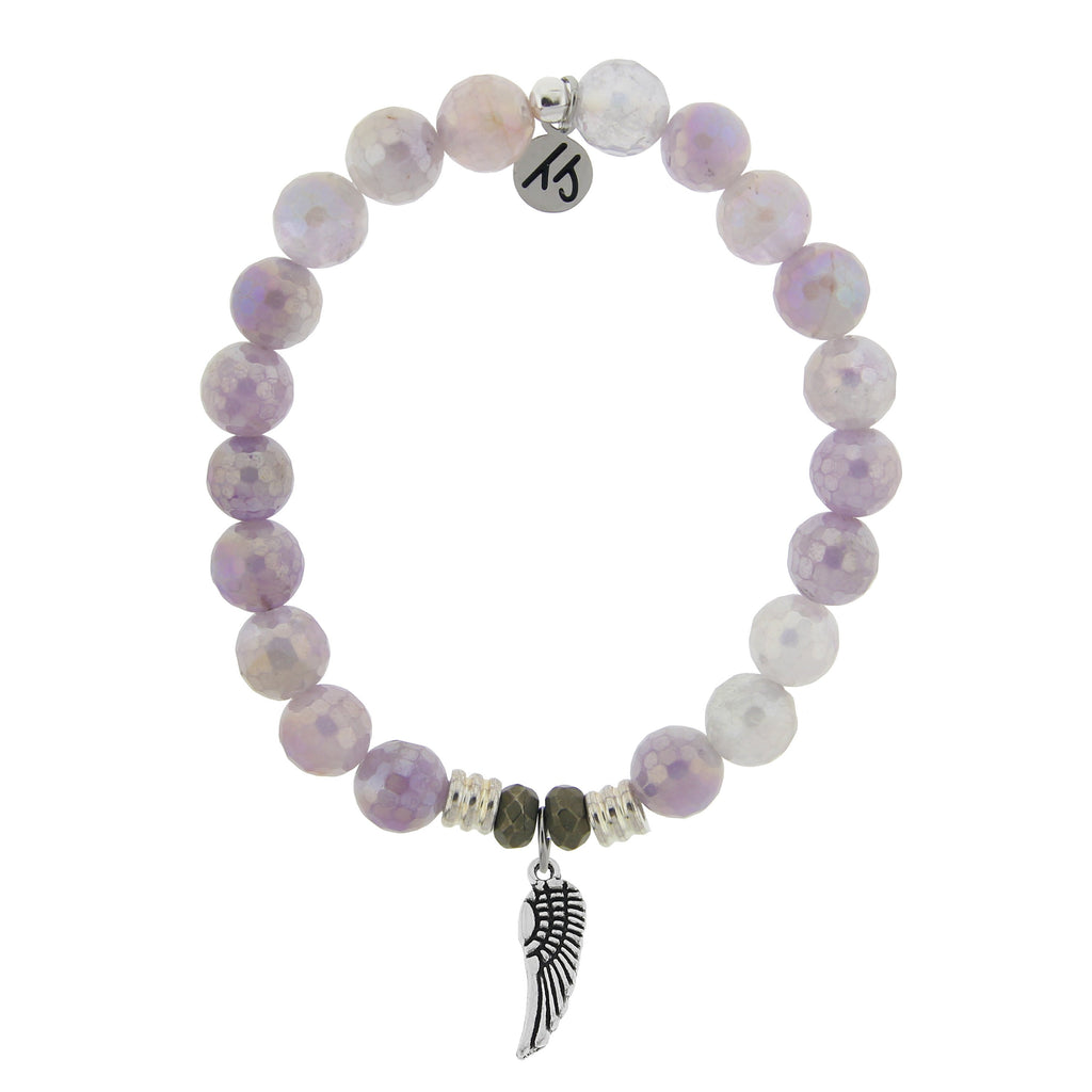 Mauve Jade Stone Bracelet with Angel Wing Sterling Silver Charm