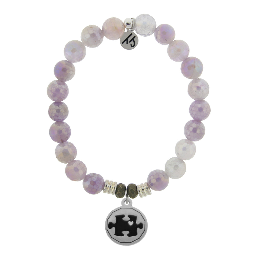 Mauve Jade Stone Bracelet with Autism Awareness Sterling Silver Charm