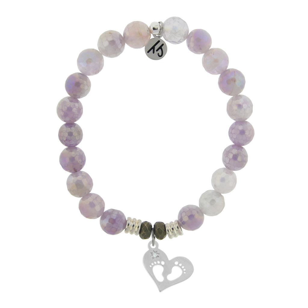 Mauve Jade Stone Bracelet with Baby Feet Sterling Silver Charm