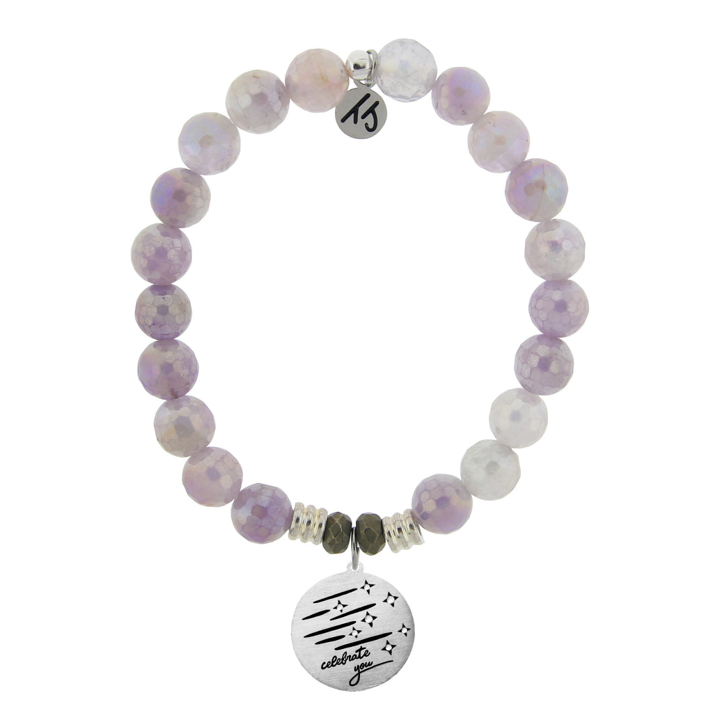 Mauve Jade Stone Bracelet with Birthday Wishes Sterling Silver Charm