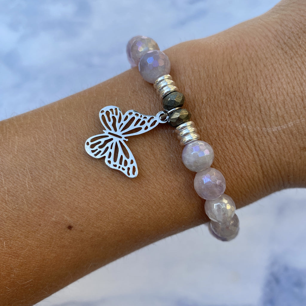Mauve Jade Stone Bracelet with Butterfly Sterling Silver Charm