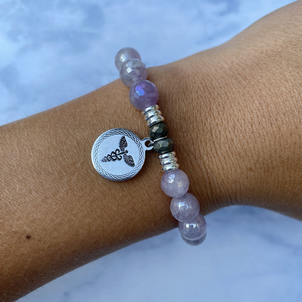 Mauve Jade Stone Bracelet with Caduceus Sterling Silver Charm