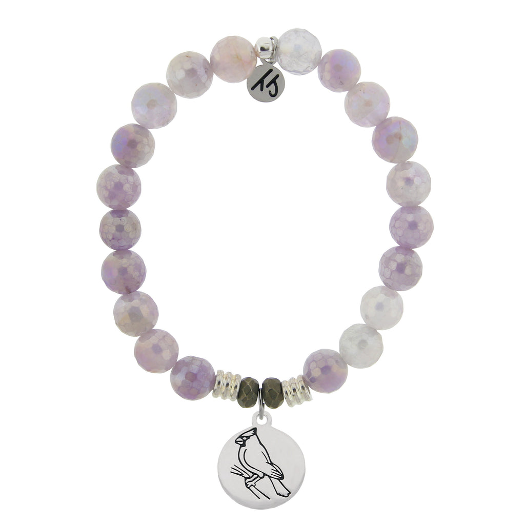 Mauve Jade Stone Bracelet with Cardinal Sterling Silver Charm