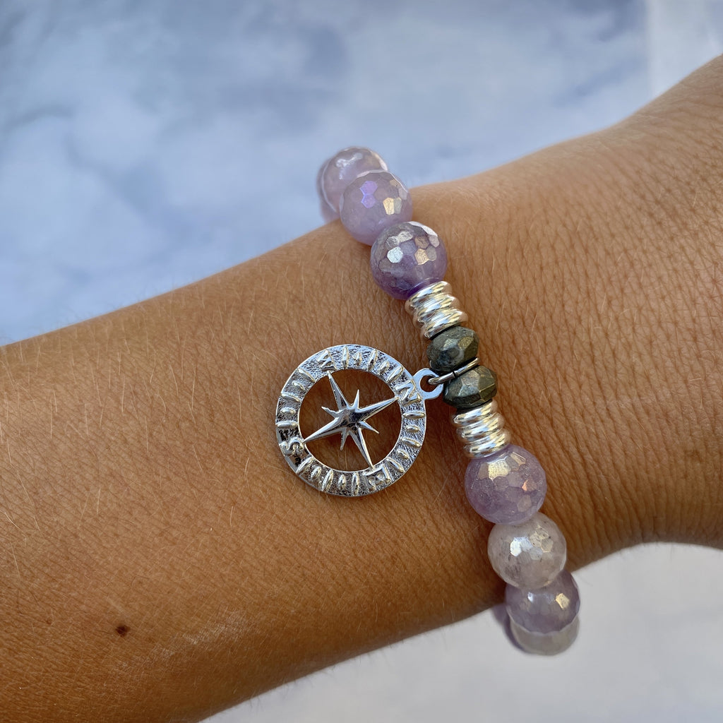 Mauve Jade Stone Bracelet with Compass Rose Sterling Silver Charm