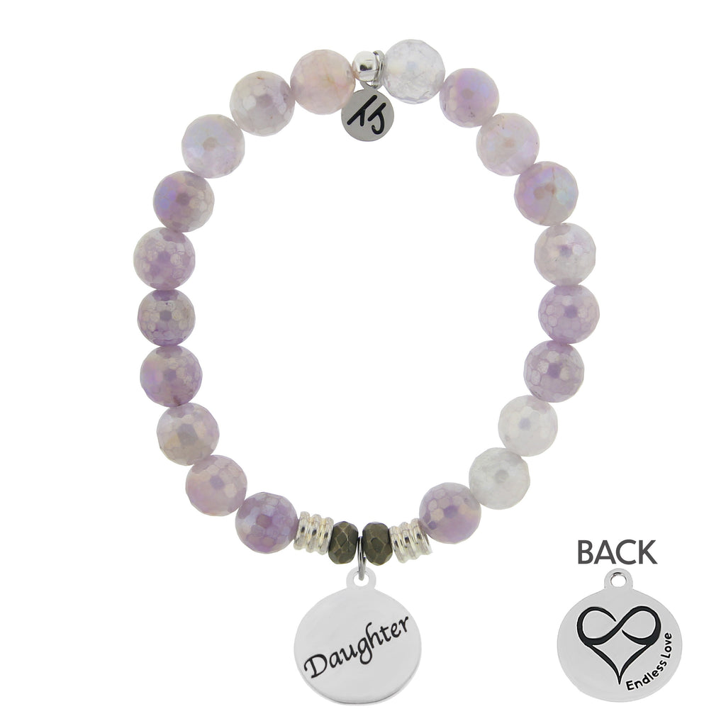 Mauve Jade Stone Bracelet with Daughter Endless Love Sterling Silver Charm