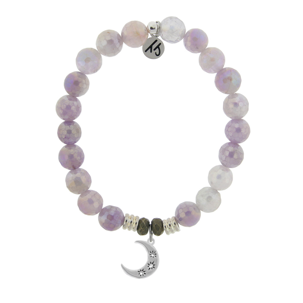 Mauve Jade Stone Bracelet with Friendship Stars Sterling Silver Charm