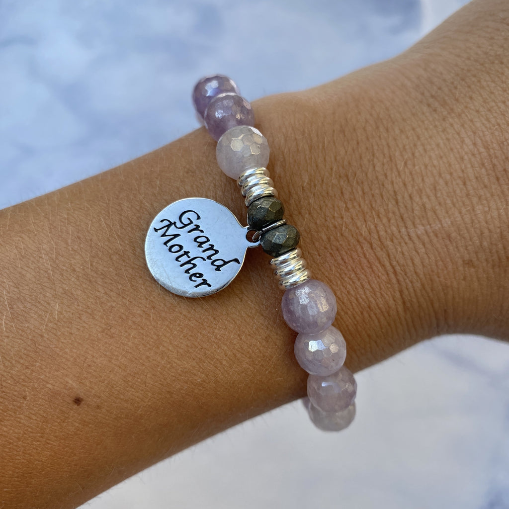 Mauve Jade Stone Bracelet with Grandmother Endless Love Sterling Silver Charm
